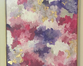 Purple, pink, gold abstract acrylic with gold Frame