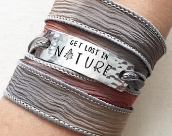 Get Lost In Nature, Wrap Bracelet, Hiking Gift, Adventure Jewelry, Travel Gift, Pine Tree Jewelry, Nature Jewelry, Adventure Gift, Explore
