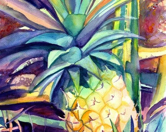Hawaiian Pineapple,  5x7 art prints, Kauai giclee, Tropical Pineapple  art, fruit print,  Hawaii interior decor, kitchen art, Kauai art,