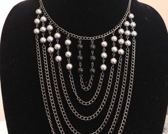 Gunmetal Gray & Black Bib Necklace