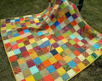 Quilt,Patchwork double bed size, picnic throw, Warm Earthtone  81 X 81 blanket, new apartment gift, dorm bed cover, rust, teal, tangerine