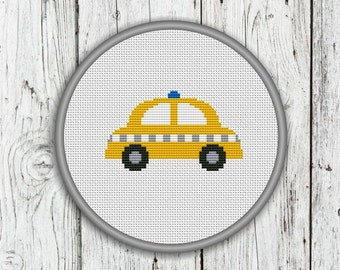 Yellow Taxi Car Counted Cross Stitch Pattern, Taxi Cab, Vehicle, Transportation, Transport Needlepoint Pattern - PDF, Instant Download