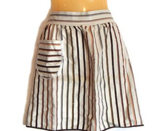 Heavy Linen Half Apron Brown Peach and Tan Stripes with Lace Trim Pocket