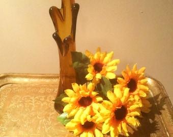 Swung Art Glass Vase, Vintage Amber Glass Vase, Hand Blown Swung Vase, Pulled Finger Vase, 50s-60s Swung Vase