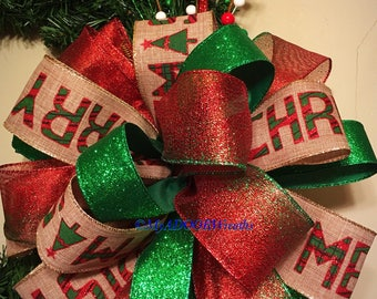 Burlap Christmas Tree Topper Bow, Rustic Tree Topper, Red &Green Tree Bow, Christmas Merry Christmas Bow, Country Christmas Bow, Holiday Bow