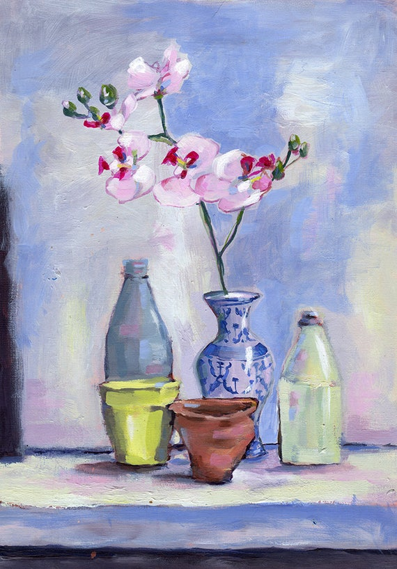 China Vase Wall Art Print  of Still Life Painting with Orchid