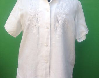 80s Vintage Top   Antique White cotton Blouse   Embroidered Blouse   Vintage Blouse   Embroidered Shirt   Embroidered cotton blouse