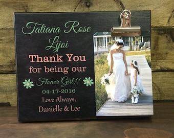 Flower Girl Thank You Gift, Thank You For Being Our Flower Girl, Personalized Picture Frame, Wedding Party Gift