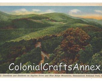 Vintage Postcard - Sunshine and Shadows on Skyline Drive and Blue Ridge Mountains - Shenandoah National Park - Virginia - Linen  OBH664 833