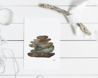 Nature Print, Neutral Wall Art, Stacked Stones, #1, Grounded Series, Rock Art, Earthy, Brown, Green, Gray, Home Decor, Watercolor Wall Art