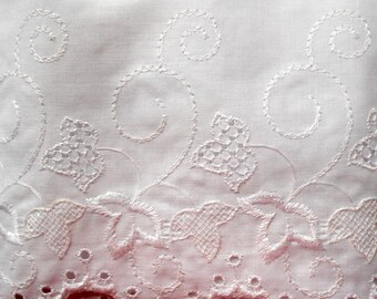 Wide White Eyelet Lace Trim, 6 yards Available, Weddings, Baby Clothes, DIY Projects Free Shipping