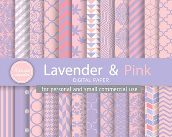 SALE ***Lavender & Pink Digital Paper - Backgrounds - for graphic design, crafts,scrap booking - INSTANT DOWNLOAD (DP026)