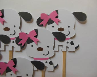 Puppy Dog Cupcake Toppers - White and Black - Girl Birthday Party Decorations - Girl Baby Showers - Set of 6