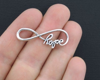 8 Infinity Charms Antique Silver Tone Hope Infinity - SC3165