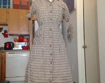 1950s plaid cotton shirtwaist day dress medium