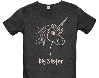Big Sister Shirt - Multiple Colors Available - Kids Big Sister T shirt Unicorn Shirt - PolyCotton Blended Shirt - Gift Friendly