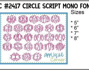 INSTANT DOWLOAD 2417 Circle Script Monogram Font bx, dst and pes only digital design for embroidery machine by Applique Corner