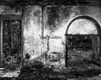 In and Out, Azores Islands, Furnas, Abandoned Building, Black and White, Fine Art, wall art prints, home decor