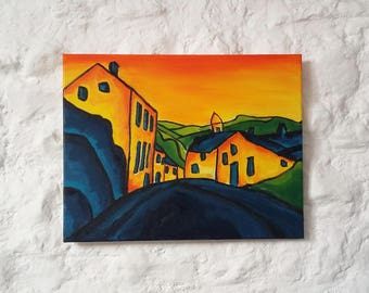 "Oil Landscape, Original Landscape Oil Painting, Impressionism, Original Abstract Painting Canvas 14""x18"" Expressionist Art Fauvism Artwork"