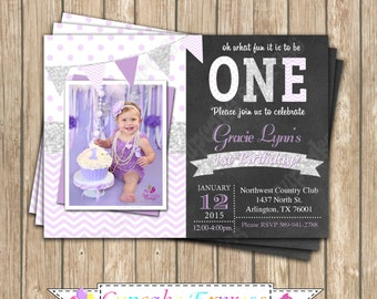 One First Birthday girl Lavender purple silver PRINTABLE photo Invitation #1 chevron polka dot glitter 1st birthday chalkboard