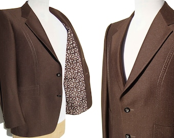 Vintage 60s Jacket Men's Brown Pick Stitch & Mod Polka Dot Lining L