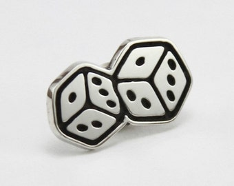 Sterling silver lapel pin / Handmade dice tie tack pin / Urban jewelry / Unique jewelry
