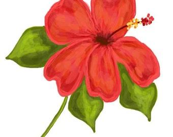 Coral Hibiscus Original Art - Digital Download - Coral Hibiscus Illustration. Hibiscus clip art