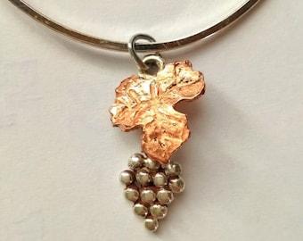 Charm Silver & Copper Grape Cluster