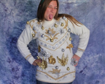 Ugly Christmas Holiday Sweater - Vintage Cream, Silver, and Gold with Ornaments Women's Large