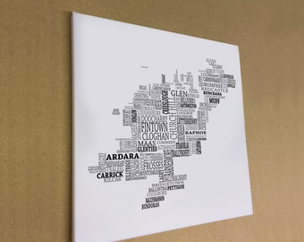 "Co. Donegal - Typographical Map Canvas Print 16"" x 16"""