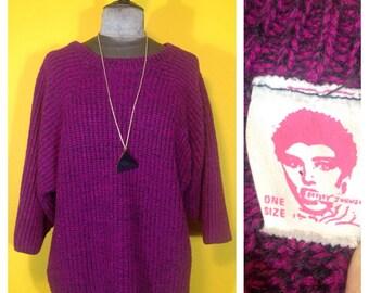 Vintage '80s Betsey Johnson purple/black Sweater, Size S / M / L
