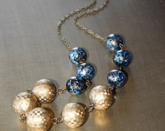 Indigo and Golden Vintage Beaded Necklace