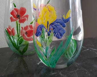 flowers Stemless hand painted wine glasses set of 2 / birthday friend gift / custom wine glasses / drinking glasses /  Glass painting