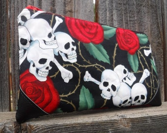 Zippered Pouch Bag - Zippered Bag - Wedding Gift - Cosmetic Case - Back To School Gift - Cosmetic Bag - Cosmetic Pouch - Makeup Bag- Skulls