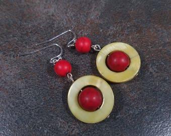 Red Earrings, Statement Earrings, Gemstone Earrings, Yellow, Red, Red Bead Earrings, Howlite, Mod Earrings, Bead Earrings, Drop Earrings