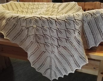 Handknitted, natural white baby blanket, 100% cotton