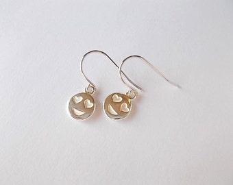 Emoji Earrings, Tween Gift, Silver Dangle Earrings, BFF Jewelry, Love Face Earrings, Birthday Gift for Her