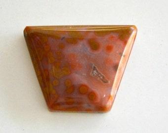 Ocean jasper designer cabochon.  trapezoid pink and yellow 25 x 19.6 x 6.2