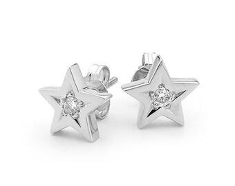 Diamond Star studs, Small White Gold Diamond Star stud earrings,