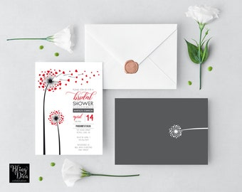 Dandelion Hearts Bridal Shower Invitation Printable