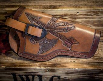 "Leather ""Axe & Arrow"" 5 1/2in Gun Holster"