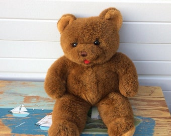 Elka Toys Vintage Brown Bear with red tongue out. Beautiful_soft_Huggable. Perfect Valentine!