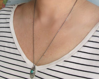 Turquoise Pendant, Necklace Included, Sterling Silver, Make a Wish