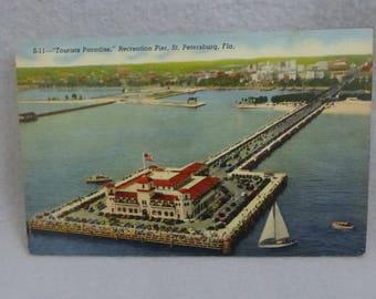 Vintage Mid Century Postcard Tourists Paradise Recreation Pier St. Petersurg, Fla Linen Finish