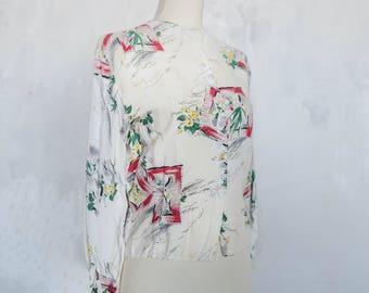 Silk 1940s Window Frame Novelty Print Blouse