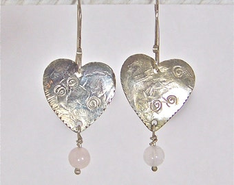 Silver Heart Earrings with Rose Quartz Gemstones