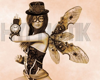 Steampunk Digital Print- Letitia