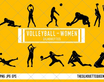 Woman Volleyball silhouette, Female Volleyball clipart, Girl sports vector, Girls Svg, png, eps,   jpg