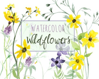 Watercolor Wildflowers, Natural summer wildlife clipart set, flower clipart, Wedding Clipart, country clip art, Floral Clip Art, Wildglower