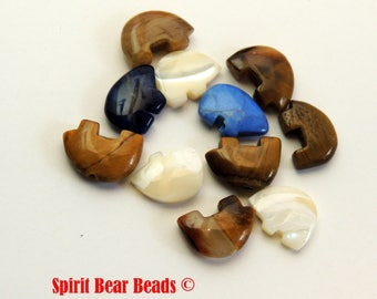 Zuni Bear Bead LOT, for Crafts or Dream catchers 11 beads assorted